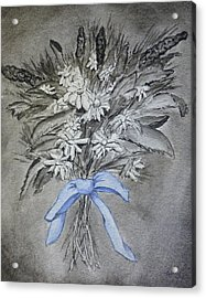 Acrylic Print featuring the painting Wild Blue Flowers by Kelly Mills