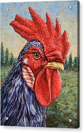 Wild Blue Rooster Acrylic Print by James W Johnson