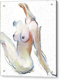 Acrylic Print featuring the mixed media Wild - Female Nude by Carolyn Weltman