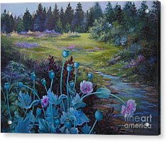 Wild Garden Acrylic Print by Jean  Yanowski