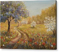 Acrylic Print featuring the painting Wild Garden Path by Katalin Luczay