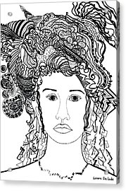 Wild Hair Portrait In Shapes And Lines Acrylic Print