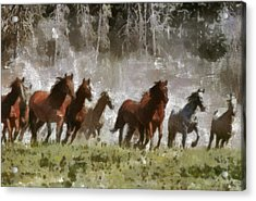 Acrylic Print featuring the painting Wild Horses by Georgi Dimitrov