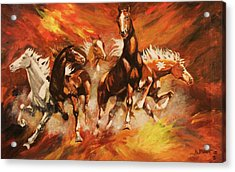 Acrylic Print featuring the painting Wild Rovers by Al Brown