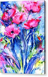Acrylic Print featuring the painting Wild Scarlet Poppies  by Trudi Doyle