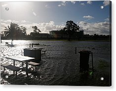 Wild Weather Causes Flooding In Melbourne Cbd Acrylic Print by Darrian Traynor
