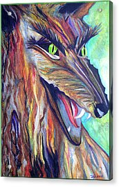 Acrylic Print featuring the drawing Wild Wolf by Daniel Janda