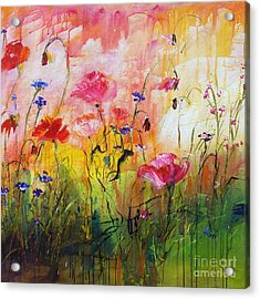 Wildflowers And Pink Poppies Acrylic Print