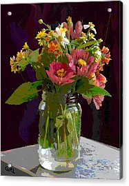 Acrylic Print featuring the painting Wildflowers And Zinnias In A Jar  Contemporary Digital Art by G Linsenmayer