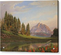 Wildflowers Mountains River Western Original Western Landscape Oil Painting Acrylic Print by Walt Curlee