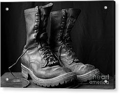 Acrylic Print featuring the photograph Wildland Fire Boots Still Life by Kerri Mortenson
