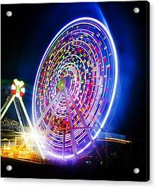 Wildwood Ferris Wheel At Night Acrylic Print