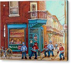 Wilensky Montreal-fairmount And Clark-montreal City Scene Painting Acrylic Print by Carole Spandau