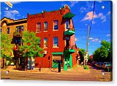 Wilenskys Deli Light Lunch Famous Sandwich Coffee Shop Art Of Montreal Street Scene Carole Spandau Acrylic Print by Carole Spandau