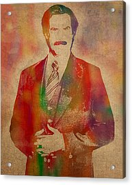 Will Ferrell As Ron Burgundy In Anchorman Movie Watercolor Portrait On Worn Distressed Canvas Acrylic Print