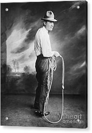 Will Rogers Portrait Holding Lasso Acrylic Print by MMG Archive Prints