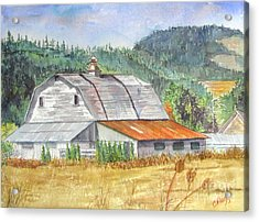 Acrylic Print featuring the painting Willamette Valley Barn by Carol Flagg