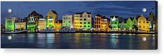 Willemstad Curacao At Night Panoramic Acrylic Print by Adam Romanowicz
