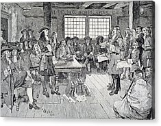 William Penn In Conference With The Colonists, Illustration From The First Visit Of William Penn Acrylic Print by Howard Pyle