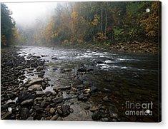 Williams River Autumn Mist Acrylic Print by Thomas R Fletcher