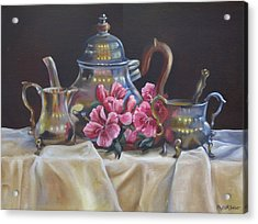 Acrylic Print featuring the painting Williamsburg Stieff Tea Set by Phyllis Beiser