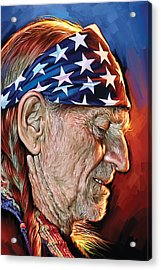 Acrylic Print featuring the painting Willie Nelson Artwork by Sheraz A