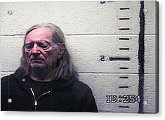 Willie Nelson Mugshot Acrylic Print by Bill Cannon