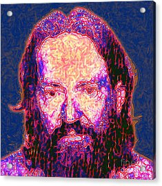 Willie Nelson Painterly 20130328 Square Acrylic Print by Wingsdomain Art and Photography