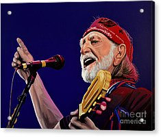 Willie Nelson Acrylic Print by Paul Meijering