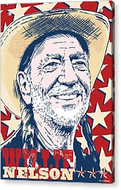 Willie Nelson Pop Art Acrylic Print by Jim Zahniser