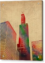 Willis Sears Tower Chicago Illinois Watercolor On Worn Canvas Series Acrylic Print by Design Turnpike