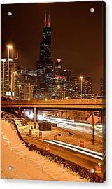 Willis Tower Chicago Winter 2014 Acrylic Print by Michael  Bennett