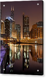 Willis Tower Reflection In Chicago River March 2014 Acrylic Print by Michael  Bennett