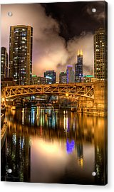 Willis Tower Reflection In Chicago River  Acrylic Print by Michael  Bennett