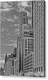 Willoughby Tower And 6 N Michigan Avenue Chicago  Acrylic Print by Christine Till