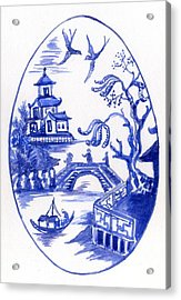 Willow Pattern Egg II Acrylic Print