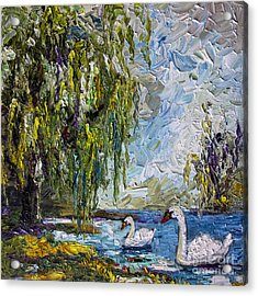 Willow Tree And Swan Lake Oil Painting Acrylic Print by Ginette Callaway