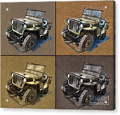 Willys Jeep Mb Car Drawing Acrylic Print