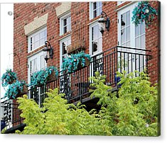 Blue Flowers On A Balcony  Acrylic Print