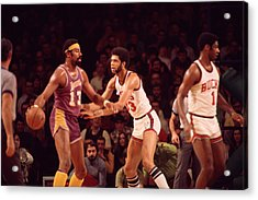 Wilt Chamberlain Guarded By Kareem Abdul Jabbar Acrylic Print by Retro Images Archive