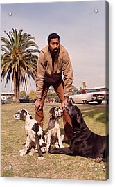 Wilt Chamberlain With Dogs Acrylic Print by Retro Images Archive