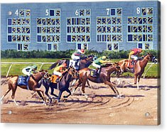Win Place Show At Del Mar Acrylic Print by Mary Helmreich