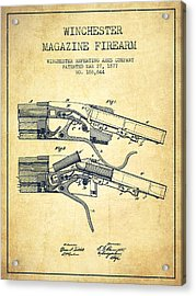 Winchester Firearm Patent Drawing From 1877 - Vintage Acrylic Print