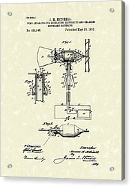 Wind Mill 1891 Patent Art Acrylic Print by Prior Art Design