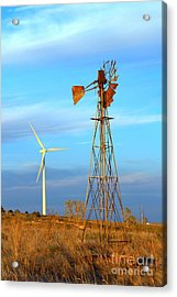Wind Power  Then And Now Acrylic Print by Jim McCain