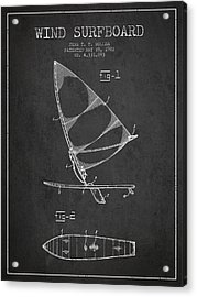 Wind Surfboard Patent Drawing From 1982 - Dark Acrylic Print