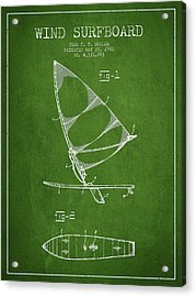 Wind Surfboard Patent Drawing From 1982 - Green Acrylic Print