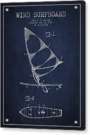 Wind Surfboard Patent Drawing From 1982 - Navy Blue Acrylic Print
