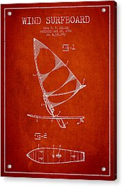 Wind Surfboard Patent Drawing From 1982 - Red Acrylic Print