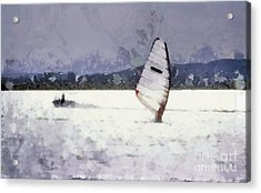 Wind Surfers On The Lake Acrylic Print